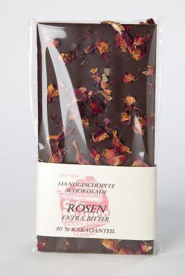 Schokoladentafel - Zartbitter mit Rosenblätter - PREMIUM