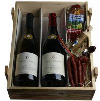 Badische Weinkiste - Somelierset, 2 Weine, Knabberwürste